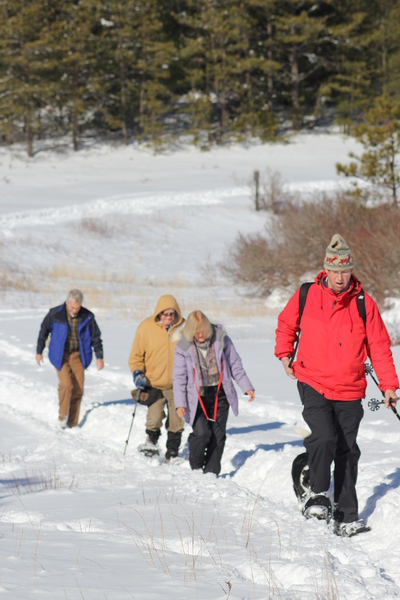 snowshoers in Myles Standish