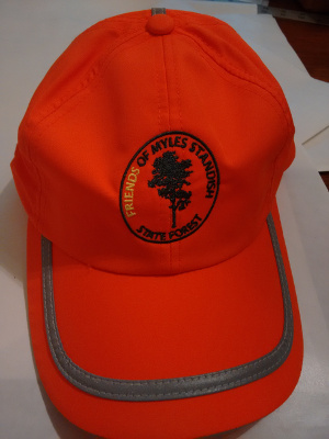 blaze orange hat with Friends logo