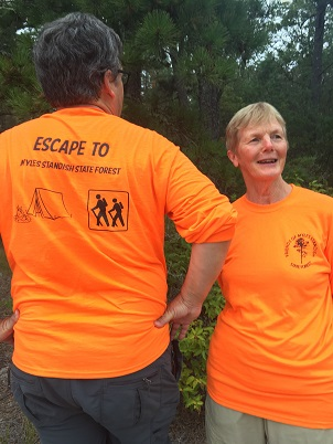 blaze orange Friends Escape to Myles Standish State Forest tshirts