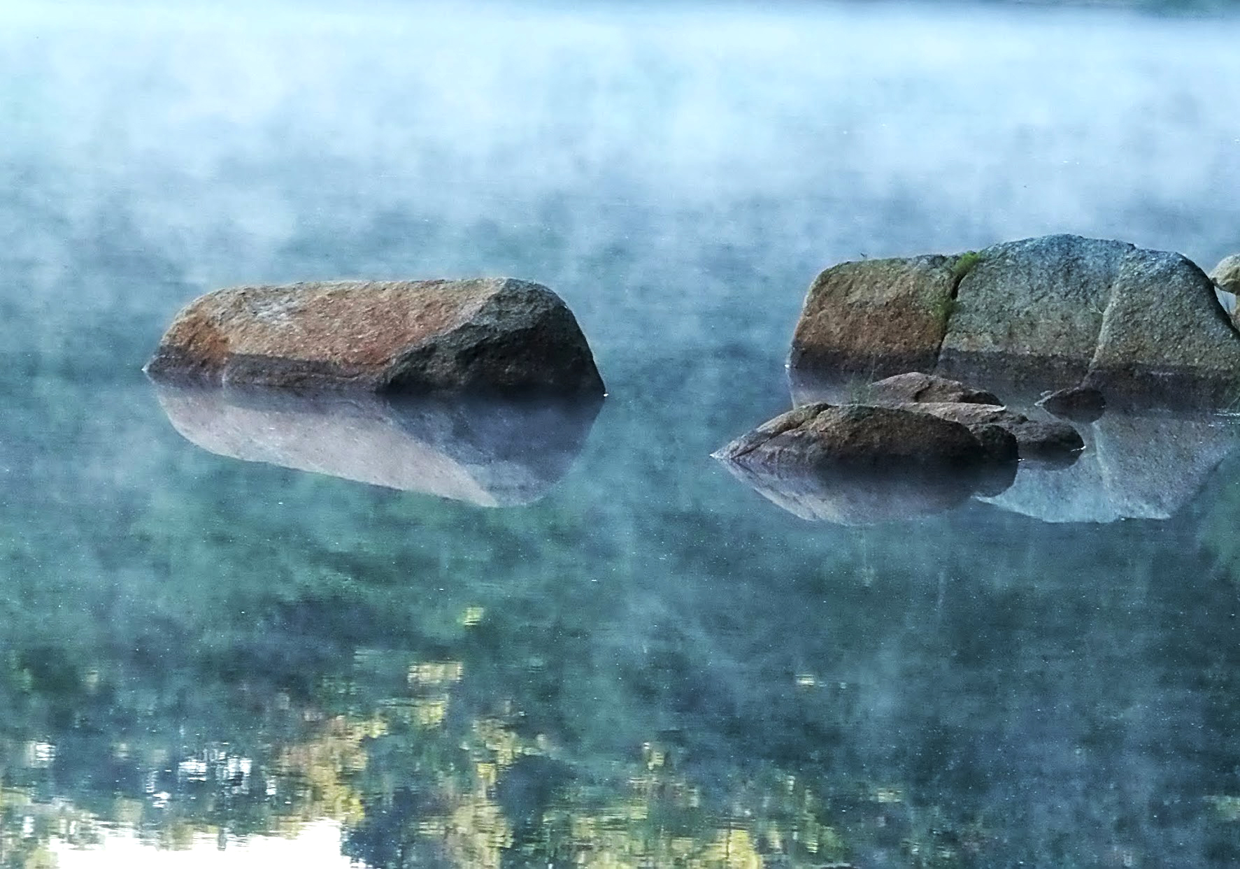 mist covered rocks at Widgeon Pond