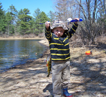 big fish little kid at Myles Standish State Forest