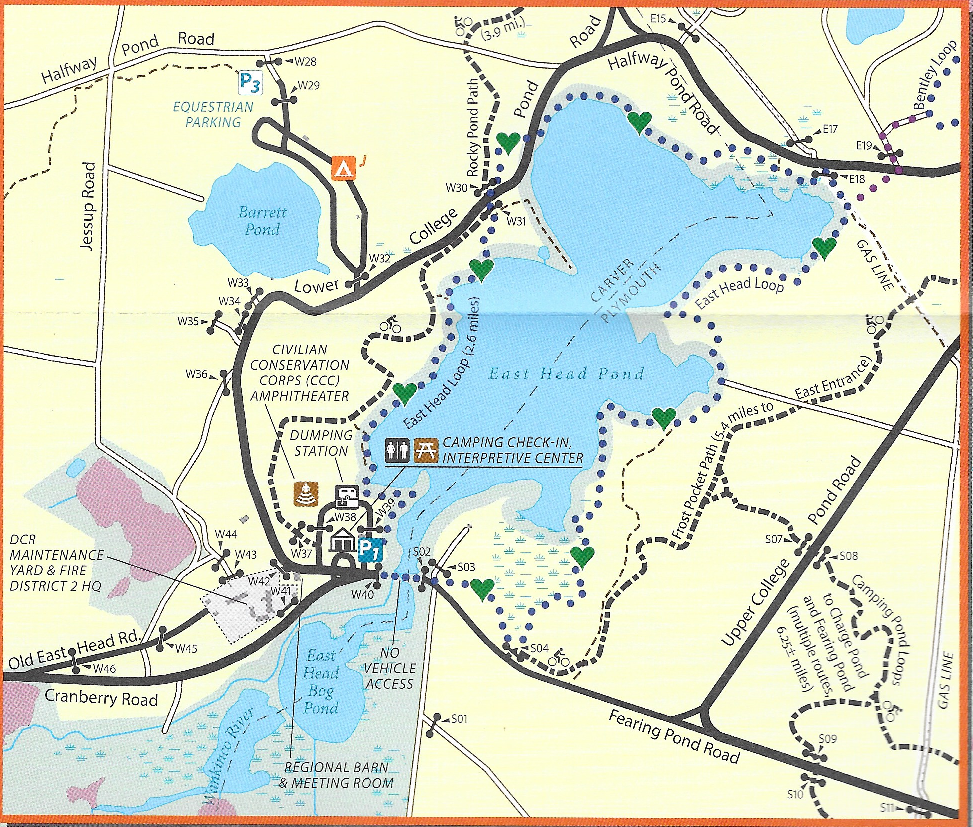 Myles Standish State Forest map- headquarters and East Head Pond detail