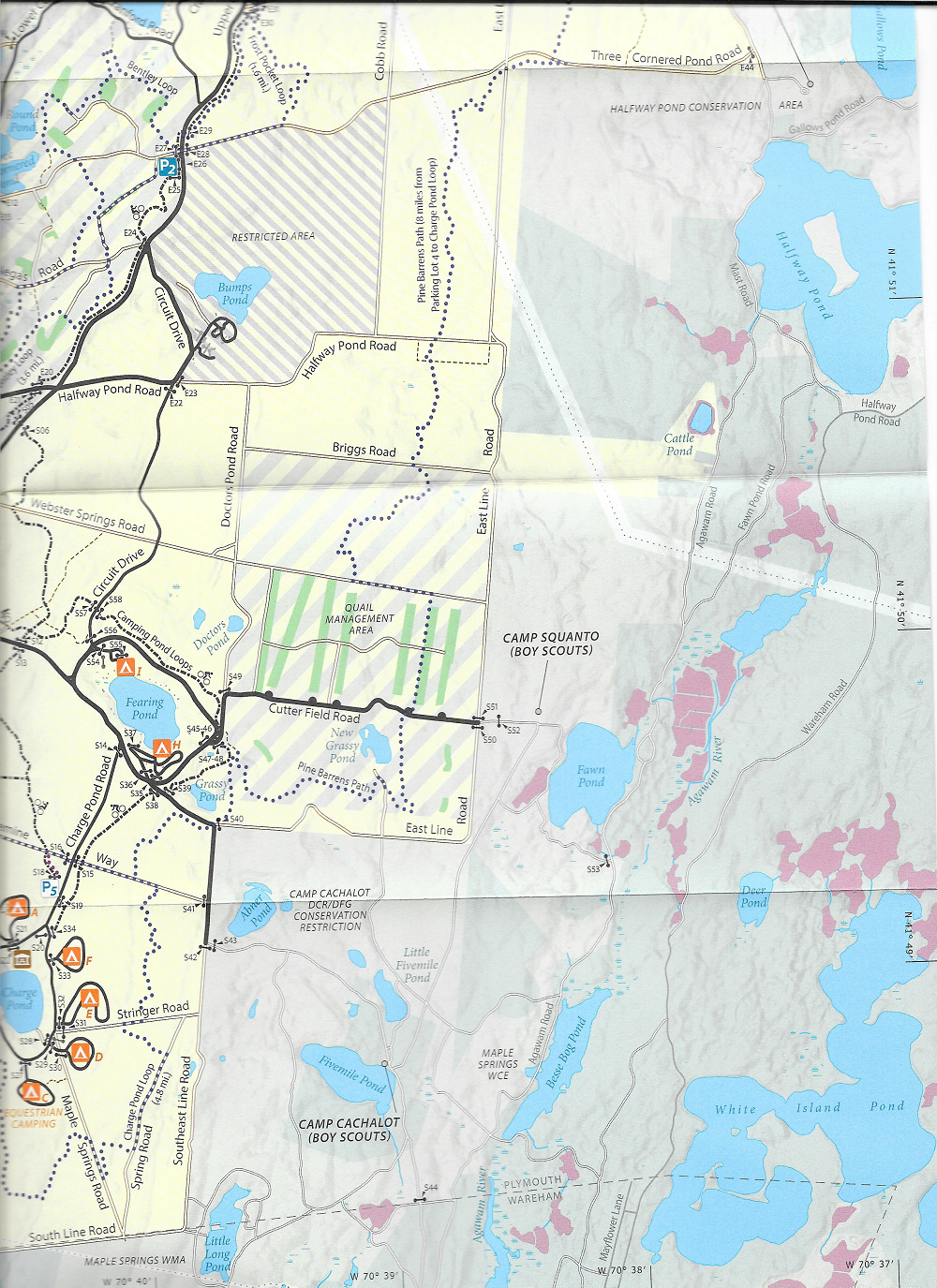 Myles Standish State Forest Map- Charge Pond and southern portion of Pine Barrens Path detail