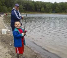 Jason and Jason Jr. fishing at Myles Standish State Forest